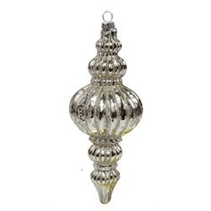 "7"" Silent Luxury Crackled Glass Finial with Glitter Accent Christmas Ornament"