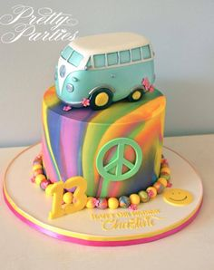 Pinning for the VW! Cakes To Make, Fancy Cakes, How To Make Cake, Bolo Hippie, Hippie Cake, Peace Sign Cakes, Peace Cake, Beautiful Cakes, Amazing Cakes