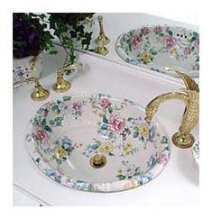 Chintz Fluted Sink with Swan Faucets traditional-bathroom Ideal Bathrooms, Beautiful Bathrooms, Bathroom Gallery, Estilo Shabby Chic, Sink Design, Ikea Design, Traditional Bathroom, Bathroom Faucets, Bathroom Interior
