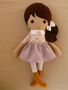 Fabric Doll Rag Doll Brown Haired Girl in Pink and by rovingovine