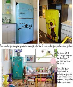 Geladeira de personalidade! Do blog casadecolorir.com.br