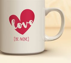 Valentine's Day Coffee Mug Available in 3 Colors | Quick Ship! Love Heart Mug | Coffee Mug Available in 11 oz., 15 oz.  | Great Gift Idea!