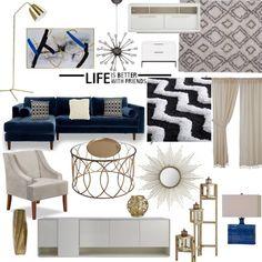 My inspiration for livingroom. #navy #gold #livingroom #homedecor
