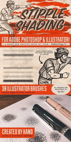 Updated This set now contains two new brushes for both Photoshop and Illustrator that lay down single stipple dots as you paint for more accurate detail Brush Drawing, Adobe Illustrator Tutorials, Photoshop Illustrator, Graphic Design Tips, Graphic Design Inspiration, Ink Illustrations, Graphic Illustration, Lightroom, Ideas