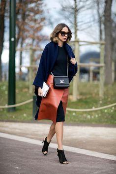 #CandelaNovembre ultra chic leather wrap skirt. Paris