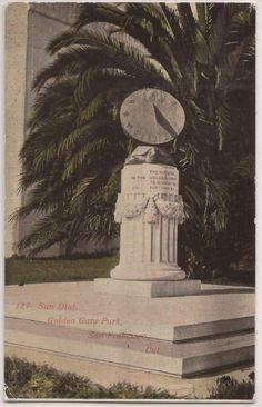 "San Francisco California Postcard ""Sun Dial Golden Gate Park"" 1916 CA Postmark"