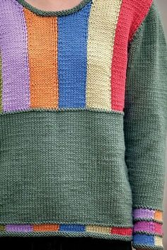 Baby Knitting Patterns Sweter Ravelry: Color Bars pattern by Rick Mondragon Crochet Jumper Pattern, Jumper Patterns, Sweater Knitting Patterns, Crochet Cardigan, Knitting Designs, Knit Patterns, Knitting Projects, Hand Knitting, Knitting Sweaters