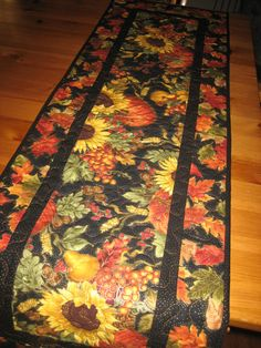 Quilted Table Runner Large Sunflowers and Pumpkins by TahoeQuilts, $46.00