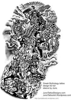 Greek Mythology tattoo design for full  sleeve by Juno  JunoTattooDesigns.com JunoTattooArt.Wordpress.com