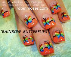 RAINBOW BUTTERFLIES nail art design, HAWAIIAN SPLASH nail art tutorial design. simple tulips nail art design for short nails tutorials up for wednesday. | Your Own Nail Art