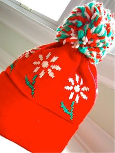 Vintage 1970 s knit wool winter hat with by gnarlynutmeggers 14 50