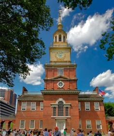 Independence Hall... the clock tower was under construction... can't wait to go back. Philidelphia is one of my favorite cities!