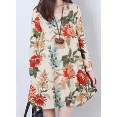 Casual V-Neck Long Sleeve Floral Print Plus Size Irregular Hem Women's DressVintage Dresses | RoseGal.com
