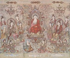 中文: 宋時大理國描工張勝溫畫梵像 卷 Deutsch: Der lehrende Budha Sakyamuni English: Scroll of Buddhist Images Date 	12th century Medium 	ink and color on paper Dimensions 	Height: 30.4 cm (12 in).