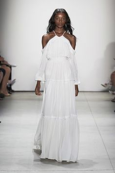 Erin Fetherston | Spring 2017 Ready-to-Wear fashion collection | Showing off the shoulders | Long white dress