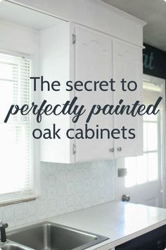 Step by step tutorial for painting oak cabinets white including the best way to . Step by step tutorial for painting oak cabinets white including the best way to get rid of the wood grain. This is one of the best ways to update kitchen cabinets! Painting Kitchen Cabinets White, Update Kitchen Cabinets, Diy Cabinets, Kitchen Paint, Painting Cabinets, White Cabinets, Kitchen Ideas, Diy Kitchen, Kitchen Cupboards