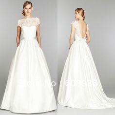 Elegant 2013-2014 New Fashion Bateau Backless Wedding Dress With Short-sleeves