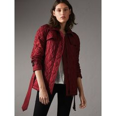 Quilted Trench Jacket with Detachable Hood in Dark Crimson | Burberry