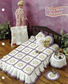 """Barbie Accessories for the Bedroom - Crochet Fashion Doll Pattern - """"Floral Motif Bedroom""""."""