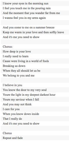 How Deep Is Your Love sung by the Bee Gees  Songwriters: GIBB, BARRY / GIBB, MAURICE / GIBB, ROBIN