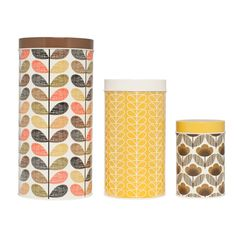 Bring Orla Kiely's signature style to the kitchen with this set of three assorted canisters. Each one features a lid and a different Orla Kiely signature pattern in the browns & yellows colour pale...
