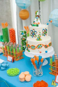 New Science Party Cale Ideas Boy Birthday Ideas Science Cake, Mad Science Party, Mad Scientist Party, Science For Kids, 6th Birthday Parties, Boy Birthday, Birthday Ideas, Party Cakes, Party Ideas