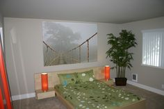 Contemporary Master Bedroom with Designer Series 9 Wood Headboard, Carpet, Ikea PREMIAR Picture, Jungle Journey, High ceiling