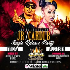 Flyer designs of the day!!!! JR/CARDI B Single Release Party Flyer Designed by graphixfly For more info please contact Web: www.graphixfly.com | Email: graphixfly@gmail.com Turn Around Time 1 day #graphixfly #Flyer #LoungeFlyer #ClubFlyer #TakeOver #Hiphop #rap #party #lounge #NightOutParty #LadiesNight #CocktailParty #BdayFlyer #NightClubs #OfficialParty #AfterParty #MixtapeParty #djs #AfterParty  #HiphopMusic #R&B #BirthdayParty