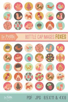 Fox Bottle Cap Images Bottle Cap Images One Inch by LePetiteMarket