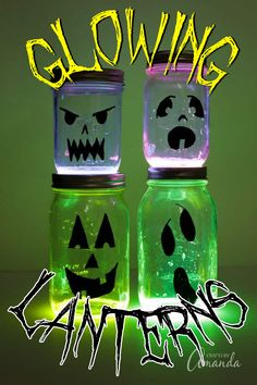 Create some spooky fun for your doorstep or window this Halloween with these glowing Jack O'Lantern luminaries! Recycled Jars, Recycled Crafts Kids, Fun Crafts For Kids, Preschool Crafts, Pumpkin Painting Party, Beer Bottle Crafts, Green Craft, Halloween Crafts, Halloween Party