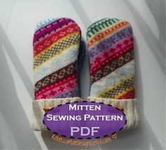 pdf sewing mitten pattern - diy lined mittens from upcycled recycled repurposed wool sweaters