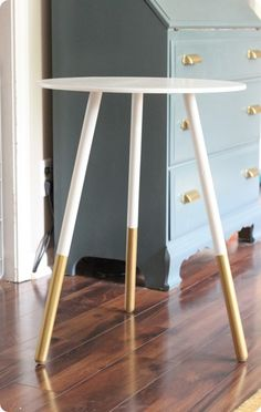 Paint-Dipped Side Table. #gold #colorblock #diy this would look awesome on my ikea end tables!!!