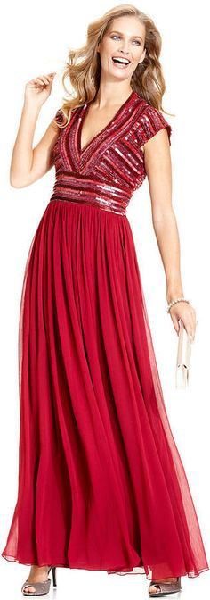 JS Collections Dress, Cap-Sleeve Beaded Bodice Formal Gown. - http://www.ebay.com/itm/-/121714850466?roken=cUgayN