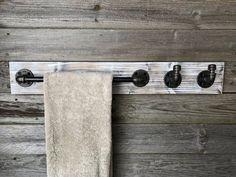 Whitewash Towel Bar with Hooks Bathroom Set Industrial Rustic Towel Holder Hang Towels In Bathroom, Towel Holder Bathroom, Bathroom Sets, Bathroom Trends, Bathroom Plants, Bathroom Towel Bars, Bathroom Marble, Shower Towel, Downstairs Bathroom
