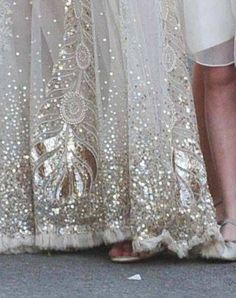 Love the gold detail on Kate Moss's wedding dress