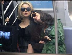 Speaking of subways, let's talk about whatever this subway scene is that's happening. It is bound to be the most iconic subway scene in history because apparently it includes Anne Hathaway leaning on Helena Bonham Carter: Helena Carter, Helena Bonham Carter, British Actresses, Actors & Actresses, Ocean's Eight, Ordinary Girls, Nyc Subway, Anne Hathaway, Cate Blanchett