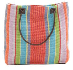 Garden Stripe Woven Cotton Tote Bag by Cottageandbungalow.com