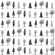 Trees pattern illustration a-pattern-a-day.tumblr.com