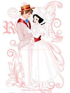 Snow White and Prince as Mary Poppins and Bert - disney Photo Disney Nerd, Disney Fan Art, Disney Girls, Disney Pixar, Tiana Disney, Disney Couples, Disney Villains, Disney Dream, Disney Style