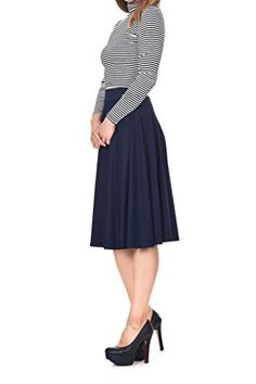 Women's Weekend Skirts - Danis Choice Beautiful flowing Aline Flared Swing Midi Skirt ** Click on the image for additional details.