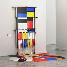 Mondrian Melting Masterpiece Digital Artworks by Alper Dostal. Bauhaus, Mondrian Art, Found Art, Art And Technology, Art And Architecture, Installation Art, Sculpture Art, Steel Sculpture, Art Education