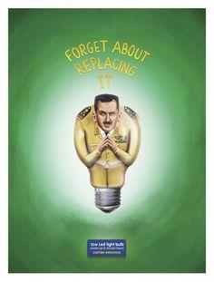 あの独裁者たちを引き合いに出したLED電球のウィットに富んだ広告 | AdGang