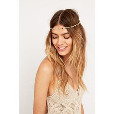 Gold Triangle Chain Headband ($14) ❤ liked on Polyvore featuring accessories, hair accessories, hair, gold, gold headwrap, boho chic headbands, chain headband, gold hair accessories and chain headwrap
