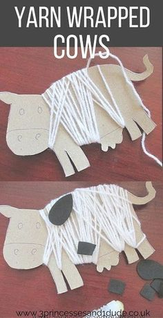 This yarn wrapped cow craft looks just right for preschoolers! Farm Animal Crafts, Farm Crafts, Eyfs Activities, Toddler Activities, Animal Activities For Kids, Learning Activities, Cow Craft, Farm Lessons, Farm Art