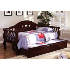 Charlotte Dark Cherry Finish Daybed with Trundle - http://www.furniturendecor.com/charlotte-dark-cherry-finish-daybed-with-trundle/ - Related searches: Bedroom Furniture, Beds and Bed Frames, Furniture, Home and Kitchen