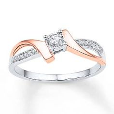 Two swirls of rose gold embrace a round diamond set in sterling silver in this entrancing promise ring for her. A sweep of round diamonds flows along the sterling silver band to complete the look. The ring has a total diamond weight of carat. Cute Promise Rings, Diamond Promise Rings, Diamond Wedding Bands, Wedding Rings, Star Wedding, Ring Set, Ring Verlobung, Rings Pandora, Pandora Jewelry