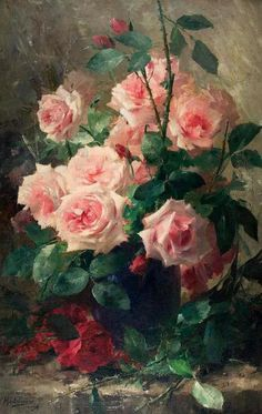 Still Life of Pink Roses Giclee Print by Frans Mortelmans - by AllPosters. Art And Illustration, Arte Floral, Colorful Roses, Still Life Art, Rose Art, Beautiful Paintings, Rose Paintings, Flower Art, Cactus Flower