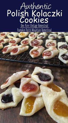 Polish Kolaczki Cookies ⋆ One Acre Vintage & Pumpkin Patch Mtn. Polish Kolaczki Recipe, Kolaczki Cookies Recipe, Kolachy Cookies, Polish Cookies, Just Desserts, Polish Desserts, Polish Food Recipes, Baking Recipes, Cookie Recipes