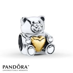 Pandora Charm Bear My Heart Sterling Silver/14K Gold - $75