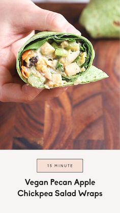 These easy vegan chickpea salad wraps with apples and veggies are so nutritious and packed with plant-based protein. This healthy recipe is made in just 15 minutes, and is the perfect on-the-go lunch. It's made with a protein-packed chickpea salad tossed in a creamy maple dijon dressing, apples, pecans, and healthy vegetables. You'll love this fast and delicious lunch! Quinoa Chickpea Salad, Chickpea Recipes, Healthy Recipes, Healthy Vegetables, Veggies, Spinach Tortilla, Salad Wraps, Vegan Curry, Curry Dishes